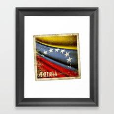 Grunge sticker of Venezuela flag Framed Art Print