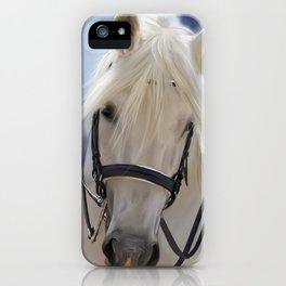 Painted White Horse head iPhone Case
