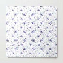 Purple lilac watercolor hand painted daisies floral pattern Metal Print