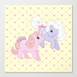 g1 my little pony babies Cotton Candy and Blossom Canvas Print