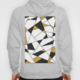 Modern Geometry -black and white with gold- Hoody