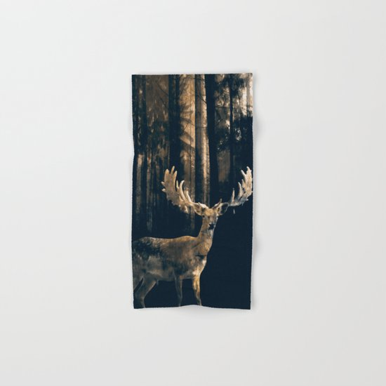 Deer in the dark forest Hand & Bath Towel