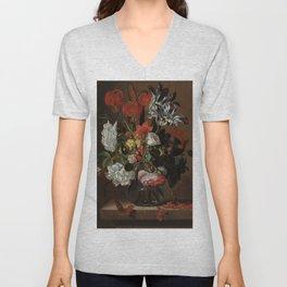 "Jacob Marrel ""Flowers in a glass vase"" Unisex V-Neck"