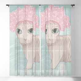 No Hair Don't Care - Sphynx Cat Wearing a Shower Cap in a Bathtub - Wrinkly Hairless Kitty Sheer Curtain
