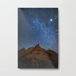 Starry Night: Brilliant Blue Stars Behind Rocky Mountain Metal Print