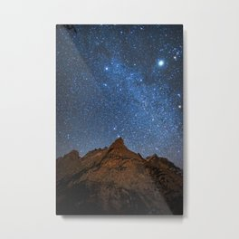 Starry Night: Brilliant Blue Stars Behind Rocky Mountain Metal Print