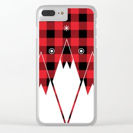 Red Buffalo Plaid Mountains Clear iPhone Case