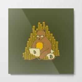 Bitcoin Miner T-shirt Bear Metal Print