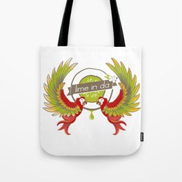 Lime in the coconut and two scarlet macaws. Tote Bag