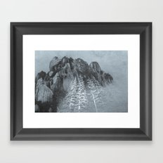 Mountains and Forest - Black and White Trees at the Peak Framed Art Print