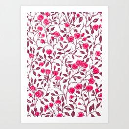 Red rose bush Art Print