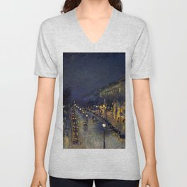 "Camille Pissarro ""The Boulevard Montmartre at Night""(1897) Unisex V-Neck"