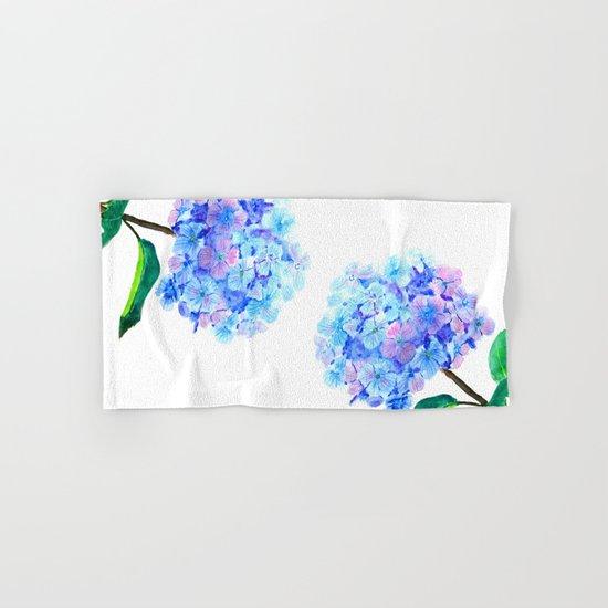 blue purple hydrangea Hand & Bath Towel