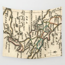 Vintage Map of Italy (1758) Wall Tapestry
