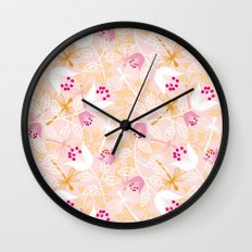 Flowers and dragonfly on blush Wall Clock