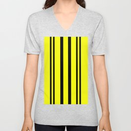 NEON YELLOW AND BLACK THIN AND THICK STRIPES Unisex V-Neck