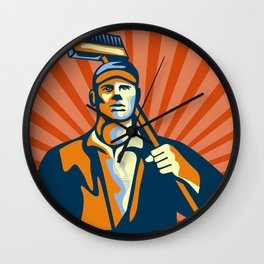 Street Cleaner Holding Broom Front Retro Wall Clock