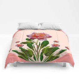 PINK ROSES CORAL BOTANICAL VINTAGE ART Comforters