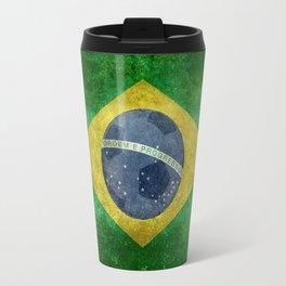 Vintage Brazilian flag with football (soccer ball) Travel Mug
