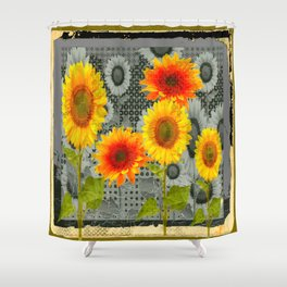 GREY GRUBBY SHABBY CHIC STYLE SUNFLOWERS ART Shower Curtain