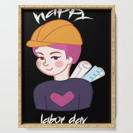 """Labor Day Tee"""": """"Happy Labor Day"""" """"Funny Labor Day Shirts"""": Clothing Serving Tray"""