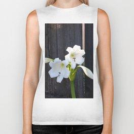 White Lilies Biker Tank