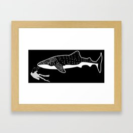 Scuba Diver Swimming With Whale Shark Framed Art Print