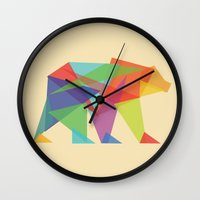 bear Wall Clocks featuring Fractal Geometric bear by Picomodi