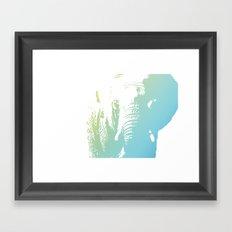 Elephant in Blue Framed Art Print
