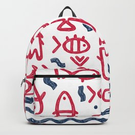 Hand drawn sketched fish, wave pattern Backpack
