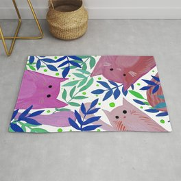 Cats and branches - pink and blue Rug