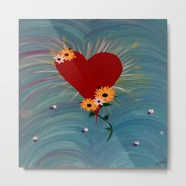 Heart with Flowers Metal Print