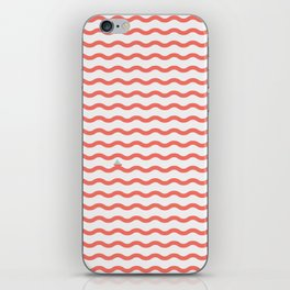 Waves with Tiny Boat ~ coral red iPhone Skin