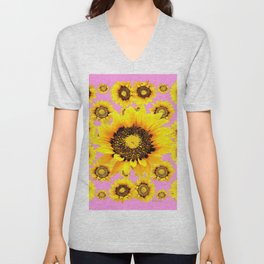 Pink Art Yellow Stylized Sunflowers Pattern Unisex V-Neck