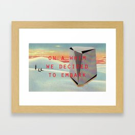 On a whim we decided to embark (Coburg Faceted Table and Sunset) Framed Art Print