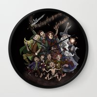 aragorn Wall Clocks featuring The Happy Fellowship by Ginger Opal
