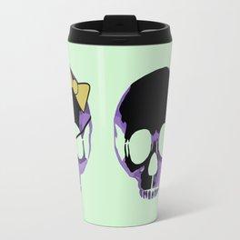 Purple skull heart with bow Travel Mug