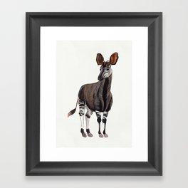 Watercolour Okapi Drawing Framed Art Print