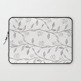 Gray ivory hand drawn watercolor leaves floral berries pattern Laptop Sleeve