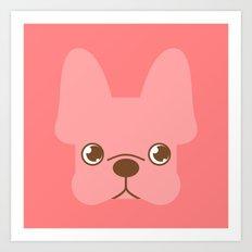 Pink Frenchie Art Print