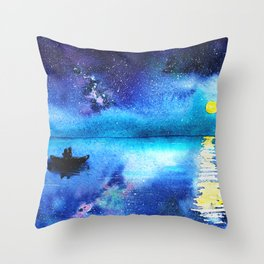 Under the moonlight || watercolor Throw Pillow