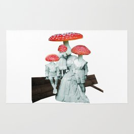 amanita muscaria with children Rug