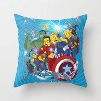 superheroes Throw Pillows featuring Superheroes by Adrien ADN Noterdaem