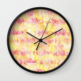 Modern pink orange tie die watercolor pattern white hand drawn floral mandala pattern Wall Clock