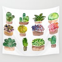 cacti Wall Tapestries featuring Cacti by Billur Kazaz