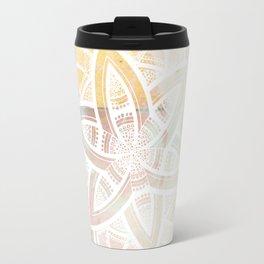 Authentic white mandala on pink Travel Mug
