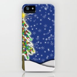 Lighted Christmas Tree at Night with Snowflakes iPhone Case