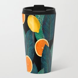 Lemons And Oranges On Black Travel Mug