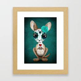 Blue Day of the Dead Sugar Skull Baby Kangaroo Framed Art Print
