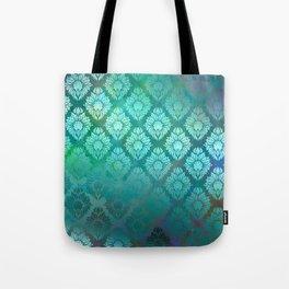 """""""Turquoise Ocean Damask Pattern"""" Tote Bag"""